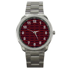 Repeated Tapestry Pattern Abstract Repetition Sport Metal Watch