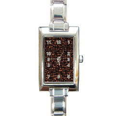 Brown Box Background Pattern Rectangle Italian Charm Watch