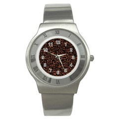 Brown Box Background Pattern Stainless Steel Watch
