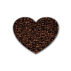Brown Box Background Pattern Rubber Coaster (Heart)