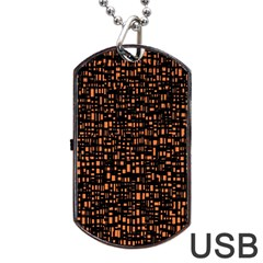 Brown Box Background Pattern Dog Tag USB Flash (Two Sides)