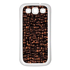 Brown Box Background Pattern Samsung Galaxy S3 Back Case (White)