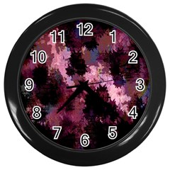 Grunge Purple Abstract Texture Wall Clocks (black)