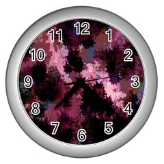 Grunge Purple Abstract Texture Wall Clocks (silver)