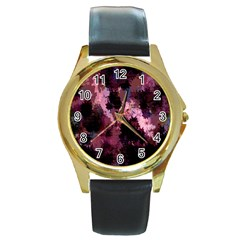 Grunge Purple Abstract Texture Round Gold Metal Watch