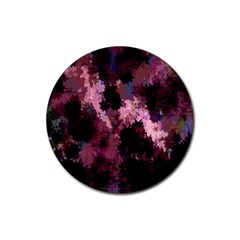 Grunge Purple Abstract Texture Rubber Round Coaster (4 Pack)