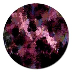 Grunge Purple Abstract Texture Magnet 5  (Round)