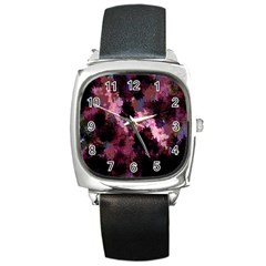 Grunge Purple Abstract Texture Square Metal Watch