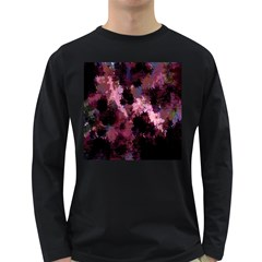 Grunge Purple Abstract Texture Long Sleeve Dark T Shirts
