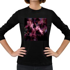 Grunge Purple Abstract Texture Women s Long Sleeve Dark T-Shirts