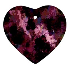 Grunge Purple Abstract Texture Heart Ornament (Two Sides)