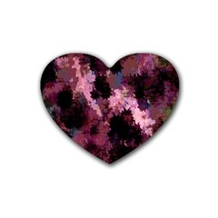 Grunge Purple Abstract Texture Heart Coaster (4 pack)