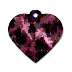 Grunge Purple Abstract Texture Dog Tag Heart (one Side)