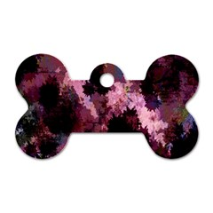 Grunge Purple Abstract Texture Dog Tag Bone (Two Sides)