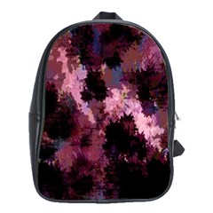Grunge Purple Abstract Texture School Bags(Large)