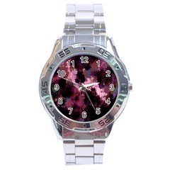 Grunge Purple Abstract Texture Stainless Steel Analogue Watch