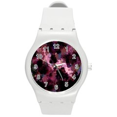 Grunge Purple Abstract Texture Round Plastic Sport Watch (m)