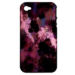 Grunge Purple Abstract Texture Apple iPhone 4/4S Hardshell Case (PC+Silicone)