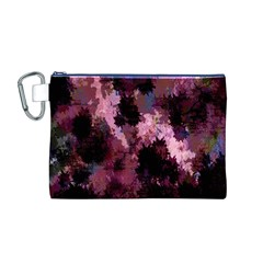 Grunge Purple Abstract Texture Canvas Cosmetic Bag (M)