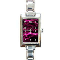 Abstract Pink Smoke On A Black Background Rectangle Italian Charm Watch
