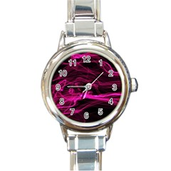 Abstract Pink Smoke On A Black Background Round Italian Charm Watch