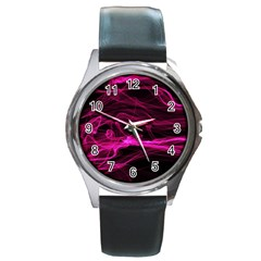 Abstract Pink Smoke On A Black Background Round Metal Watch