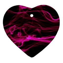 Abstract Pink Smoke On A Black Background Ornament (heart)
