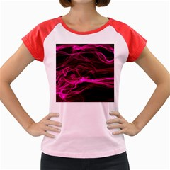 Abstract Pink Smoke On A Black Background Women s Cap Sleeve T-Shirt