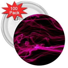 Abstract Pink Smoke On A Black Background 3  Buttons (100 Pack)
