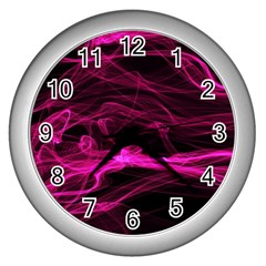 Abstract Pink Smoke On A Black Background Wall Clocks (silver)