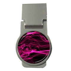 Abstract Pink Smoke On A Black Background Money Clips (Round)