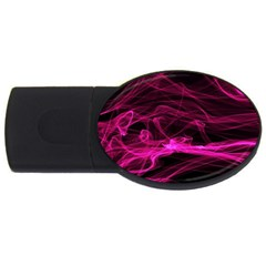 Abstract Pink Smoke On A Black Background USB Flash Drive Oval (4 GB)
