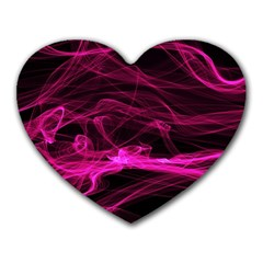Abstract Pink Smoke On A Black Background Heart Mousepads