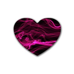 Abstract Pink Smoke On A Black Background Rubber Coaster (Heart)