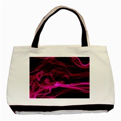 Abstract Pink Smoke On A Black Background Basic Tote Bag (two Sides)