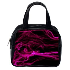 Abstract Pink Smoke On A Black Background Classic Handbags (One Side)