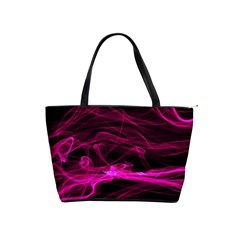 Abstract Pink Smoke On A Black Background Shoulder Handbags