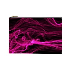 Abstract Pink Smoke On A Black Background Cosmetic Bag (large)