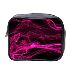 Abstract Pink Smoke On A Black Background Mini Toiletries Bag 2 Side