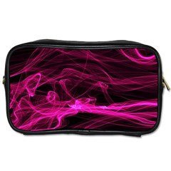 Abstract Pink Smoke On A Black Background Toiletries Bags