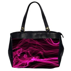 Abstract Pink Smoke On A Black Background Office Handbags (2 Sides)