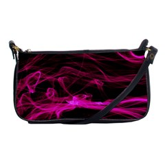 Abstract Pink Smoke On A Black Background Shoulder Clutch Bags