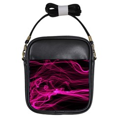 Abstract Pink Smoke On A Black Background Girls Sling Bags
