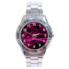 Abstract Pink Smoke On A Black Background Stainless Steel Analogue Watch