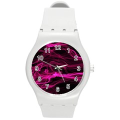 Abstract Pink Smoke On A Black Background Round Plastic Sport Watch (m)