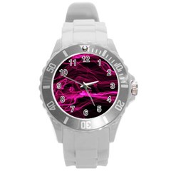 Abstract Pink Smoke On A Black Background Round Plastic Sport Watch (l)