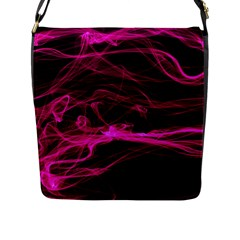 Abstract Pink Smoke On A Black Background Flap Messenger Bag (L)