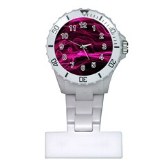 Abstract Pink Smoke On A Black Background Plastic Nurses Watch