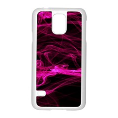 Abstract Pink Smoke On A Black Background Samsung Galaxy S5 Case (white)