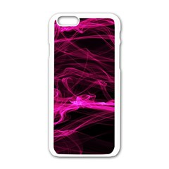 Abstract Pink Smoke On A Black Background Apple Iphone 6/6s White Enamel Case